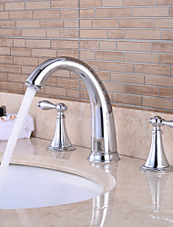 Separated Type Two Handles LED Chrome Finish Bathroom Sink Faucet