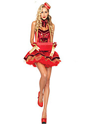 Cosplay Costumes / Masquerade Maid Costumes / Cosplay Movie Cosplay Red Solid Dress / Hat Halloween / Carnival Female Polyester