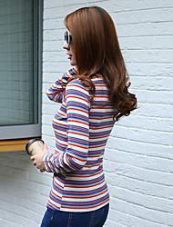 знак 2016 Hitz полосатый с длинными рукавами футболки женщины диких стрейч плотный круглый рубашки шею
