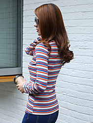 2016 Hitz firmar rayas manga larga femenina zona salvaje apretada camisa de cuello redondo
