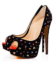 Women's Heels Spring Summer Fall Platform Leatherette Wedding Casual Party & Evening Stiletto Heel Platform Crystal Flower Black Other