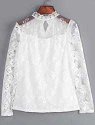Tee-shirt Femme,Couleur Pleine Décontracté / Quotidien Grandes Tailles Chic de Rue Printemps Automne Manches Longues Col Ras du CouRose