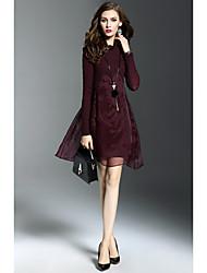 2016 new winter fashion simple long-sleeved round neck Slim dress women stitching temperament