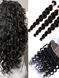 Trama do cabelo com Encerramento Cabelo Peruviano Ondulação Larga 12 meses 4 Peças tece cabelo