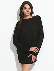 T-shirt Da donna Casual / Taglie forti Semplice Primavera,Tinta unita Rotonda / Stondata Cotone Nero / Grigio Manica lunga Sottile