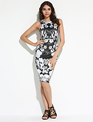 Women's Party/Cocktail / Club Sexy / Vintage Bodycon Dress,Floral Round Neck Knee-length Sleeveless
