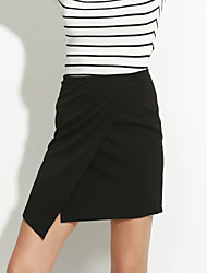 Women's White/Black Skirts , Sexy Asymmetrical