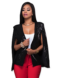 Women's Party/Cocktail / Club Sexy / Street chic Cloak/CapesSolid Cowl Fashion All Match Sequins Long Sleeve Spring / Fall Black Medium