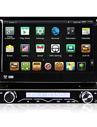 7 pouces à écran escamotable automatique 4.4.4 du système multimédia de lecteur DVD de voiture 1 din android panneau amovible anti-vol