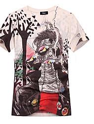 Tee-shirt Hommes,Imprimé Décontracté / Quotidien Bohème Manches Courtes Col en V Blanc / Gris / Multi-couleur Coton
