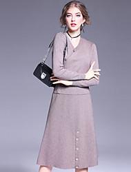 Damen Solide Einfach Lässig/Alltäglich Set Rock Anzüge,V-Ausschnitt Herbst Langarm Beige / Schwarz Wolle / Polyester