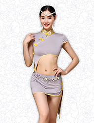 Belly Dance Outfits Women's Training Satin / Modal Buttons 2 Pieces Short Sleeve Dropped Chinese style