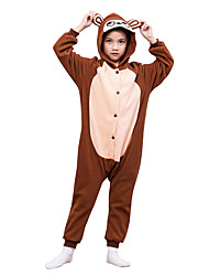 Kids Kigurumi Pajamas Monkey Leotard/Onesie Festival/Holiday Animal Sleepwear Halloween Brown Solid Polar Fleece For Kid Halloween Christmas