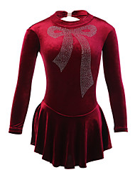 Ice Skating Dress Women's Long Sleeves Skating Skirt Figure Skating Dress Breathable Stretch Handmade Velvet Skating Wear Performance