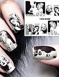 1pcs Sexy Hepburn Pattern Watermark  Nail Stickers Nail Art Design