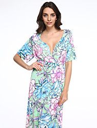 Women's Beach Plus Size / Chiffon Dress,Floral Deep V Maxi Short Sleeve Green Spandex Spring