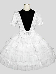 One-Piece/Dress Sweet Lolita Rococo Cosplay Lolita Dress Solid Short Sleeve Long Length Dress For Cotton
