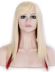 55 CM High Quality Womens Light Blonde Red Mixed Long Straight Wig Cosplay Costume Party