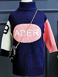 Girl Casual/Daily Patchwork Sweater & Cardigan,Knitwear Winter Fall Long Sleeve Long