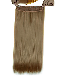 5 Clips Long Straight Golden Blonde (#16) Synthetic Hair Clip In Hair Extensions For Ladies
