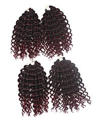 Jerry Curl Pre-loop Crochet Braids Black With Burgundy Hair Braids 9Inch Kanekalon 1 Package For Full Head 170g Hair Extensions