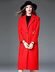 Feminino Casaco Casual Simples Outono / Inverno, Bordado Vermelho Lã / PoliésterManga Longa
