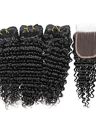 7A Indian Human Virgin Hair Deep Wave 4*4 Lace Closure With 3 Bundles Hair Weft
