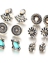 6 PCS/Set Fashion 2017 Natural Stone Crystal Stud Earrings Charming Retro Silver Color Earring Fashion Women Wedding Jewelry