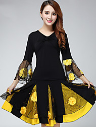 Latin Dance Outfits Women's Performance Milk Fiber Appliques / Splicing 2 Pieces Long Sleeve Natural Top / Skirt