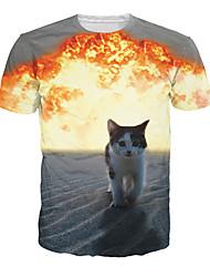 Fête / Célébration Déguisement Halloween Gris Imprimé Haut Tee-shirt Masculin Coton
