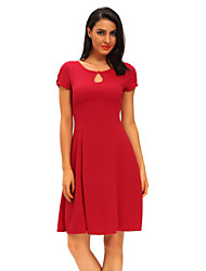 Women's Retro Short Sleeve Keyhole Flare Dress