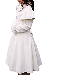 Coat Classic/Traditional Lolita Princess Cosplay Lolita Dress White Solid Long Sleeve Medium Length Coat For Women Velvet