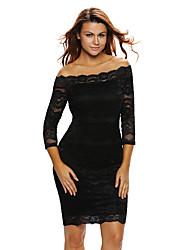 Women's Off The Shoulder|Lace Black Lace Scalloped Off Shoulder Midi Dress