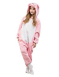 Kigurumi Pajamas Piggy/Pig Leotard/Onesie Festival/Holiday Animal Sleepwear Halloween Pink Solid Polar Fleece For KidHalloween Christmas