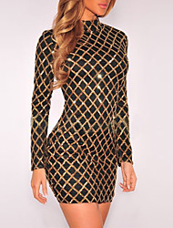 Women's Casual/Daily / Club Sexy / Street chic Bodycon DressPlaid Sequins Slim Round Neck Above Knee Long Sleeve Gold Spring / Fall Mid Rise