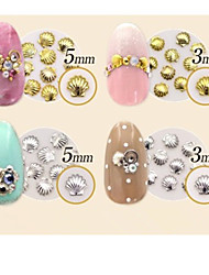 50PCS Mixed Size Gold Silver Metal Starfish Star & Shell Rivet Nail Art Decorations