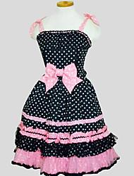 Uma-Peça/Vestidos Doce Princesa Cosplay Vestidos Lolita Preto Poás Sem Mangas Longuete Vestido Para Feminino Algodão