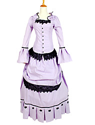 Outfits Gothic Lolita Vintage Inspired Cosplay Lolita Dress Solid Long Sleeve Ankle-length Tuxedo For Charmeuse
