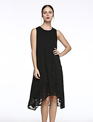 Women's Casual/Daily Simple  Dress,Jacquard Round Neck Midi Sleeveless White / Black Polyester Summer