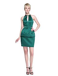 Sheath / Column Jewel Neck Short / Mini Satin Bridesmaid Dress with Tassel(s) by LAN TING BRIDE®