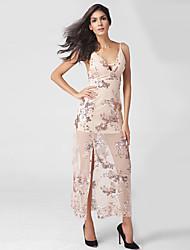 Gaine Robe Femme Décontracté / Quotidien Soirée / Cocktail Sexy Chic de Rue,Fleur Col en V Maxi Sans Manches Rose Coton Polyester Eté