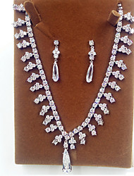 Jewelry Set Zircon Cubic Zirconia Simulated Diamond Bridal Silver Party 1set Necklaces Earrings Wedding Gifts