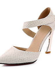 Feminino-Saltos-Sapatos com Bolsa Combinando-Salto Agulha-Preto Vermelho Branco-Courino-Escritório & Trabalho Social Casual