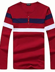 Tee-shirt Hommes,Couleur Pleine Décontracté / Quotidien simple Automne / Hiver Manches Longues Col en V Rouge / Blanc / Gris CotonFin /