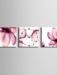 Modern/Zeitgenössisch Anderen Wanduhr,Quadratisch Leinwand 25 x 25cm(10inchx10inch)x3pcs Drinnen Uhr