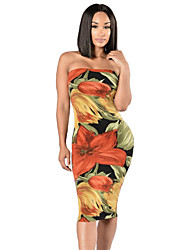 Women's Party/Cocktail / Club Sexy Bodycon Dress,Floral Strapless Midi Long Sleeve Multi-color Polyester Summer Mid Rise Micro-elastic
