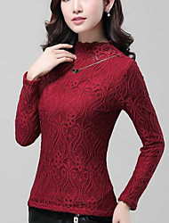Women's Casual/Daily Simple Fall / Winter Shirt,Embroidered Crew Neck Long Sleeve Red / Black / Green Silk Medium