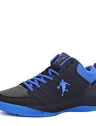 Masculino-Tênis-Conforto-Rasteiro-Azul Preto e Vermelho Preto e Branco-Couro Ecológico-Ar-Livre