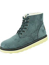 Men's Boots Winter Comfort Leather Casual Flat Heel Lace-up Black Blue Brown Gray Walking