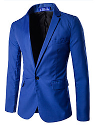 Men's European Style Slim  Solid Color One Button Blazer Solid Notch Lapel Long Sleeve Blue / Black / Gray Cotton / Polyester